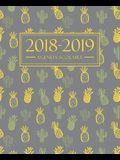 Agenda scolaire 2018-2019: 19x23cm: Agenda 2018 2019 semainier: Motif ananas et cactus