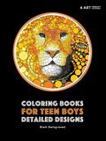 Coloring Books for Teen Boys: Detailed Designs: Black Background: Advanced Drawings for Teenagers & Older Boys; Zendoodle Skulls, Snakes, Lions, Wol