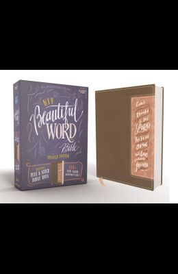Niv, Beautiful Word Bible, Updated Edition, Peel/Stick Bible Tabs, Leathersoft, Brown/Pink, Red Letter, Comfort Print: 600+ Full-Color Illustrated Ver