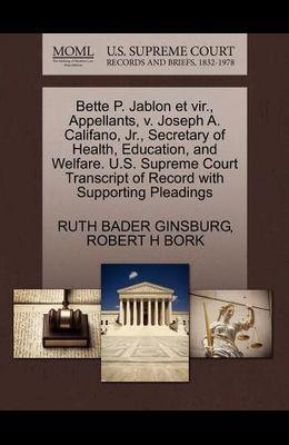 Bette P. Jablon Et Vir., Appellants, V. Joseph A. Califano, JR., Secretary of Health, Education, and Welfare. U.S. Supreme Court Transcript of Record