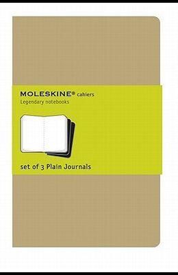 Moleskine Cahier Journal (Set of 3), Large, Plain, Kraft Brown, Soft Cover (5 X 8.25): Set of 3 Plain Journals