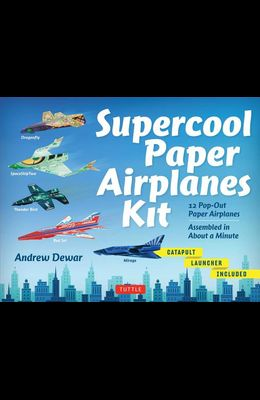 Supercool Paper Airplanes Kit: 12 Pop-Out Paper Airplanes Assembled in about a Minute: Kit Includes Instruction Book, Pre-Printed Planes & Catapult L