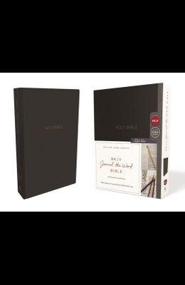 NKJV, Journal the Word Bible, Imitation Leather, Black, Red Letter Edition, Comfort Print: Reflect, Journal, or Create Art Next to Your Favorite Verse