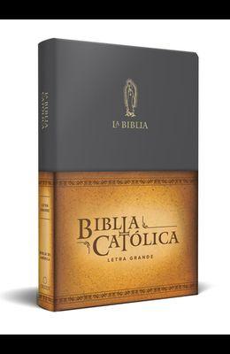 La Biblia Católica: Tamaño Grande, Edición Letra Grande Piel Negra, Con Virgen de Guadalupe