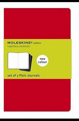 Moleskine Cahier Journal (Set of 3), Pocket, Plain, Cranberry Red, Soft Cover (3.5 X 5.5)