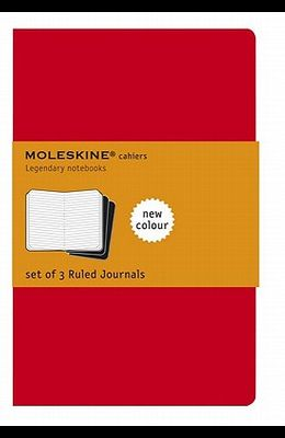Moleskine Cahier Journal (Set of 3), Large, Ruled, Cranberry Red, Soft Cover (5 X 8.25)