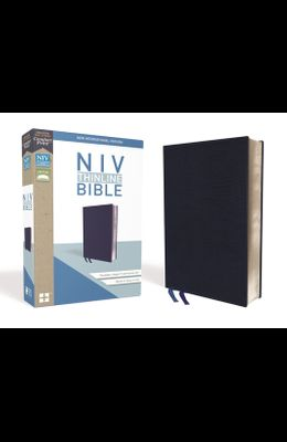 NIV, Thinline Bible, Bonded Leather, Navy, Red Letter Edition