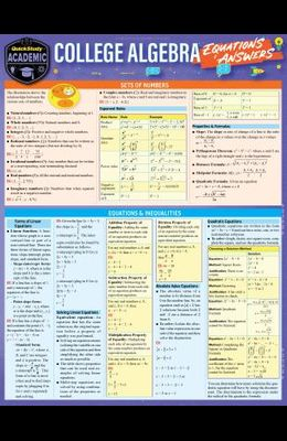 College Algebra Equations & Answers: A Quickstudy Laminated Reference Guide
