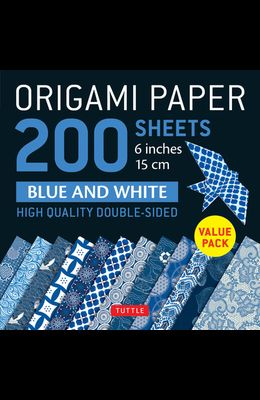 Origami Paper 200 Sheets Blue and White Patterns 6 (15 CM): High-Quality Double Sided Origami Sheets Printed with 12 Different Designs (Instructions f