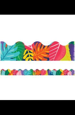 One World Colorful Leaves Scalloped Borders