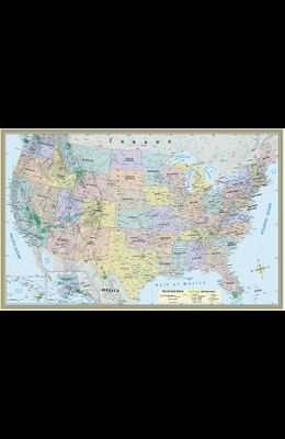 U.S. Map Poster (32 X 50 Inches) - Paper: - A Quickstudy Reference
