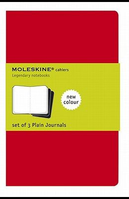 Moleskine Cahier Journal (Set of 3), Large, Plain, Cranberry Red, Soft Cover (5 X 8.25)